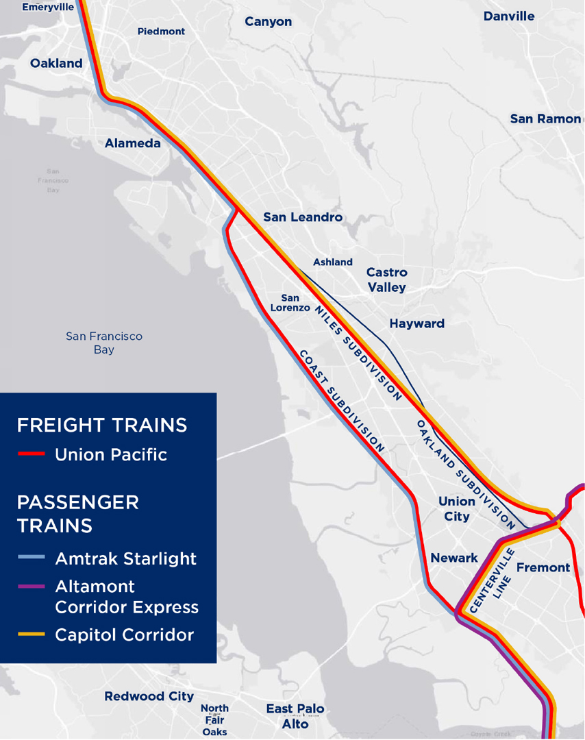 Map showing existing rail operations